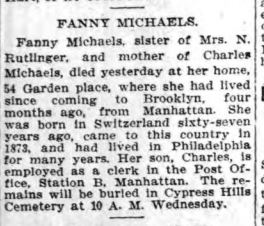 Fanny Michaels death notice Brooklyn Eagle 1913