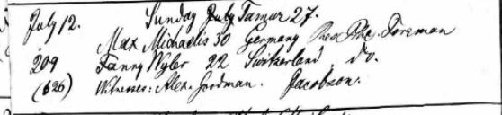 Fanny Wyler marriage record