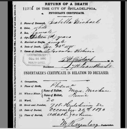 "Isabella Michael death certificate 1890 Pennsylvania, Philadelphia City Death Certificates, 1803-1915,"" index and images, FamilySearch (https://familysearch.org/pal:/MM9.3.1/TH-267-12389-23257-67?cc=1320976 : accessed 10 December 2014), 004009728 > image 968 of 1766; Philadelphia City Archives and Historical Society of Pennsylvania, Philadelphia"