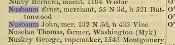 John and Ernst Nusbaum in the 1859 Philadelphia direcotry