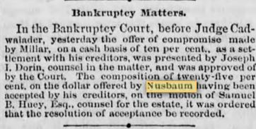 John N bankruptcy October 1878 p 1