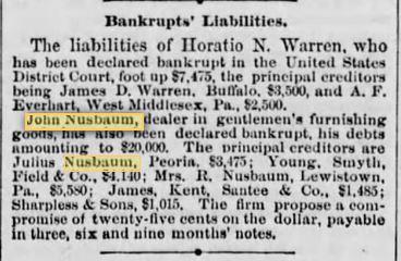 John Nusbaum bankrupt Aug 23 1878 Phil Times p 4