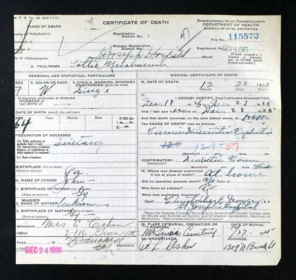 Lottie Nusbaum death certificate  Ancestry.com. Pennsylvania, Death Certificates, 1906-1963 [database on-line]. Provo, UT, USA: Ancestry.com Operations, Inc., 2014.