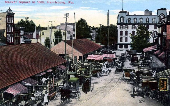 Market Square, Harrisburg in 1860