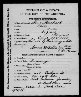 Max Michael death certificate 1884