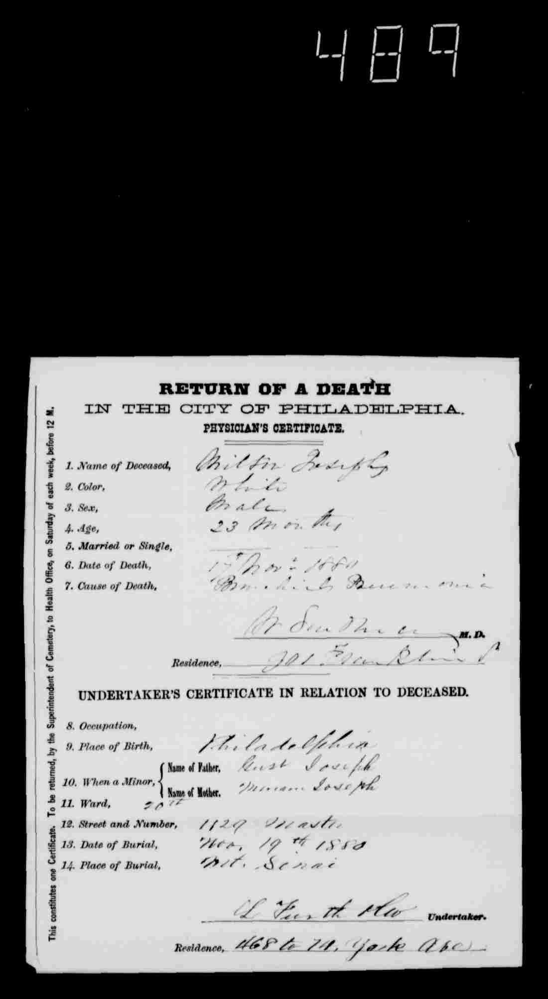 Familysearch brotmanblog a family journey milton josephs death certificate pennsylvania philadelphia city death certificates 1803 1915 aiddatafo Gallery