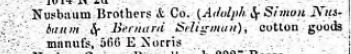 Nusbaum Brothers and Company 1867 Philadelphia Directory  Ancestry.com. U.S. City Directories, 1821-1989 [database on-line]. Provo, UT, USA: Ancestry.com Operations, Inc., 2011.