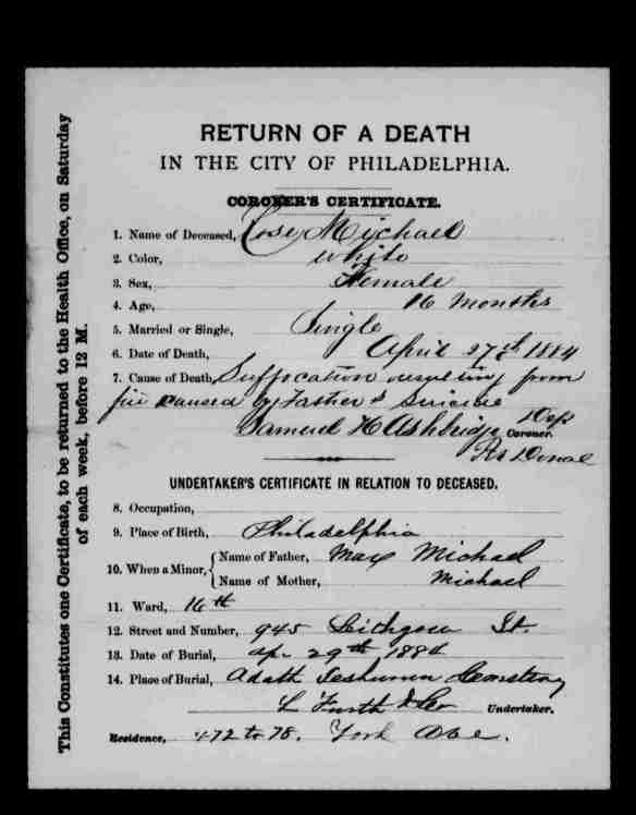 Rose Michael death certificate 1884
