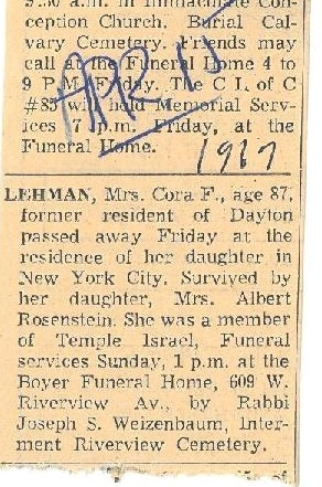 Cora Frank Gattman Lehman obituary