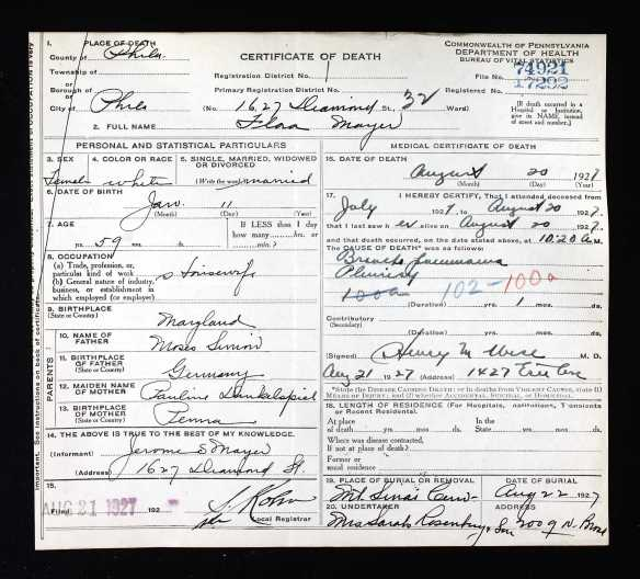 Ancestry.com. Pennsylvania, Death Certificates, 1906-1963 [database on-line]. Provo, UT, USA: Ancestry.com Operations, Inc., 2014.
