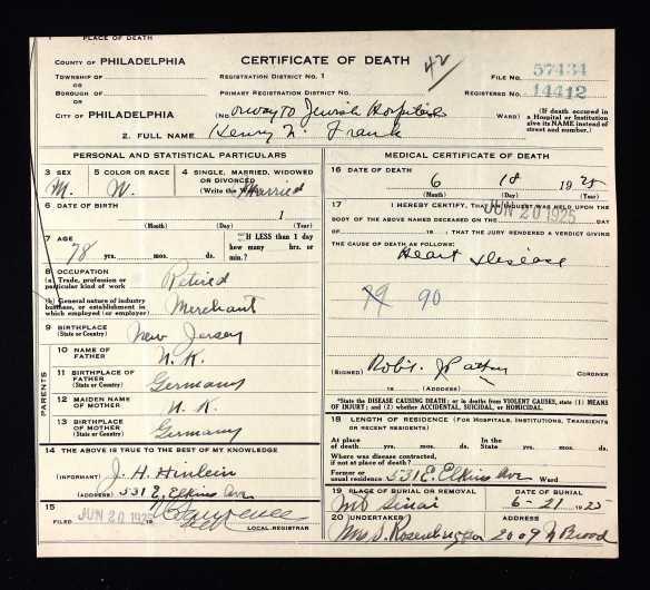 Ancestry.com. Pennsylvania, Death Certificates, 1906-1963 [database on-line]. Provo, UT, USA: Ancestry.com Operations, Inc., 2014.