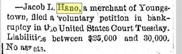 jacob hano bankruptcy cleveland plain dealer may 15 1878 p 4