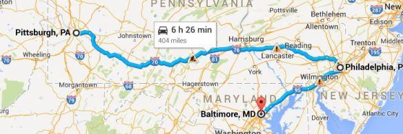 https://www.google.com/maps/dir/Pittsburgh,+PA/Philadelphia,+PA/Baltimore,+MD/@39.8480662,-79.9346458,7z/data=!3m1!4b1!4m20!4m19!1m5!1m1!1s0x8834f16f48068503:0x8df915a15aa21b34!2m2!1d-79.9958864!2d40.4406248!1m5!1m1!1s0x89c6b7d8d4b54beb:0x89f514d88c3e58c1!2m2!1d-75.1652215!2d39.9525839!1m5!1m1!1s0x89c803aed6f483b7:0x44896a84223e758!2m2!1d-76.6121893!2d39.2903848!3e0