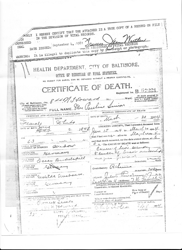 Paulina Dinkelspiel Simon death certificate