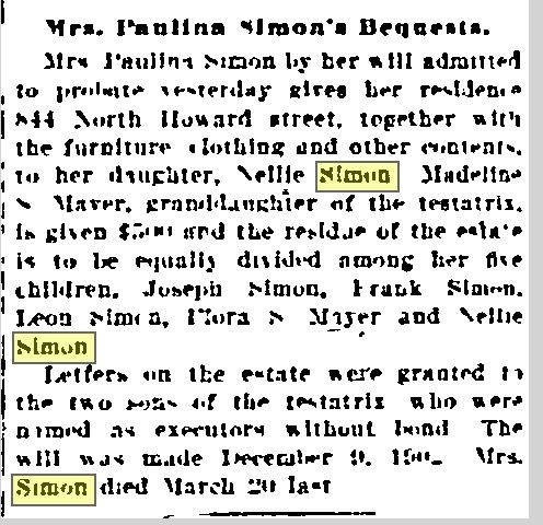 Baltimore Sun April 16, 1904, p 8