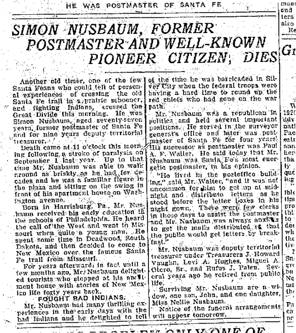 simon obit santa fe new mexican feb 25 19221