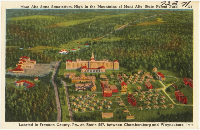Title: Mont Alto State Sanatorium, high in the mountains of Mont Alto State Forest Park, located in Franklin County, Pa., on Route 997, between Chambersburg and Waynesboro   Created/Published: John Myerly Company, Hagerstown, Md.