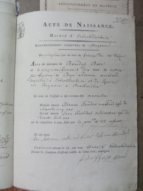 Benedict Baer birth record 1804