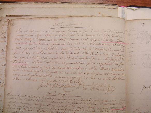 Birth record of Taubchen Baer/Eva Schoenfeld 1806