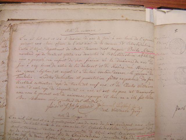 Birth record of Taubchen Baer/Eva Schoenfeld 1806