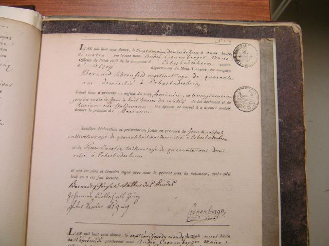 Birth record of Marianna Schoenfled 1812