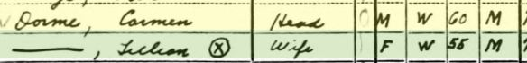 Carmen and Lillian Dorme 1940 US census