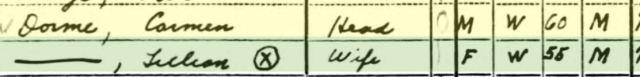Carmen and Lillian Dorme 1940 US census