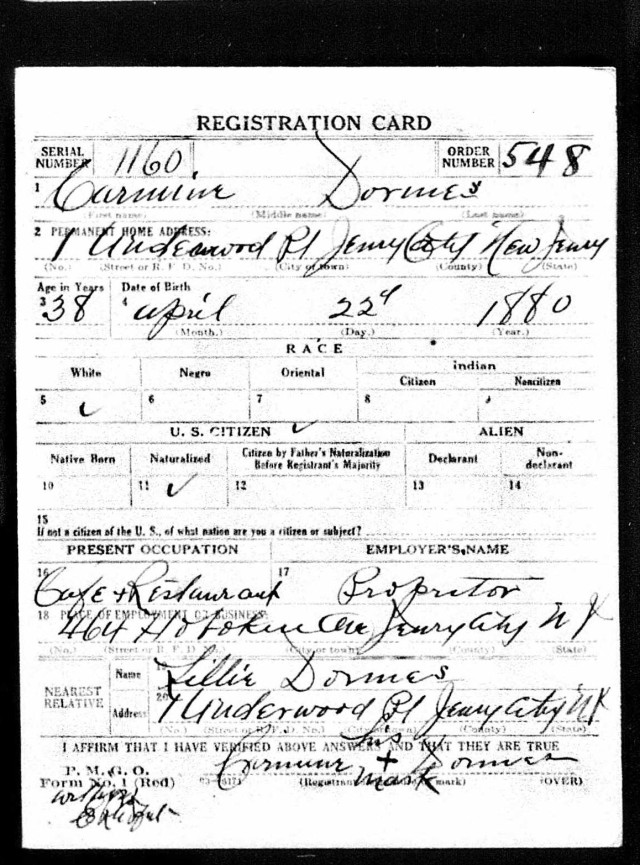 Carmine Dormes World War I draft registration