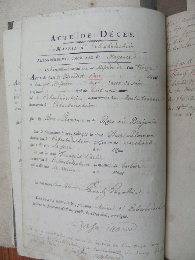Benedict Baer death record 1805