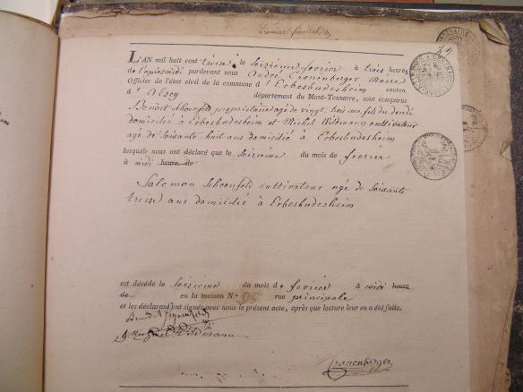 Death Record of Salomon Schoenfeld 1813
