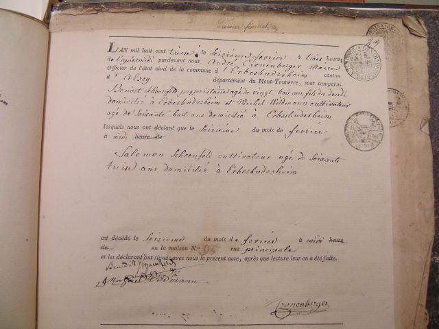 Death Record of Salomon Schoenfeld 1813