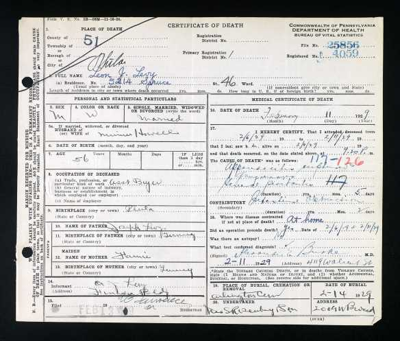 Ancestry.com. Pennsylvania, Death Certificates, 1906-1963 [database on-line]. Provo, UT, USA: Ancestry.com Operations, Inc., 2014. Original data: Pennsylvania (State). Death certificates, 1906–1963. Series 11.90 (1,905 cartons). Records of the Pennsylvania Department of Health, Record Group 11. Pennsylvania Historical and Museum Commission, Harrisburg, Pennsylvania