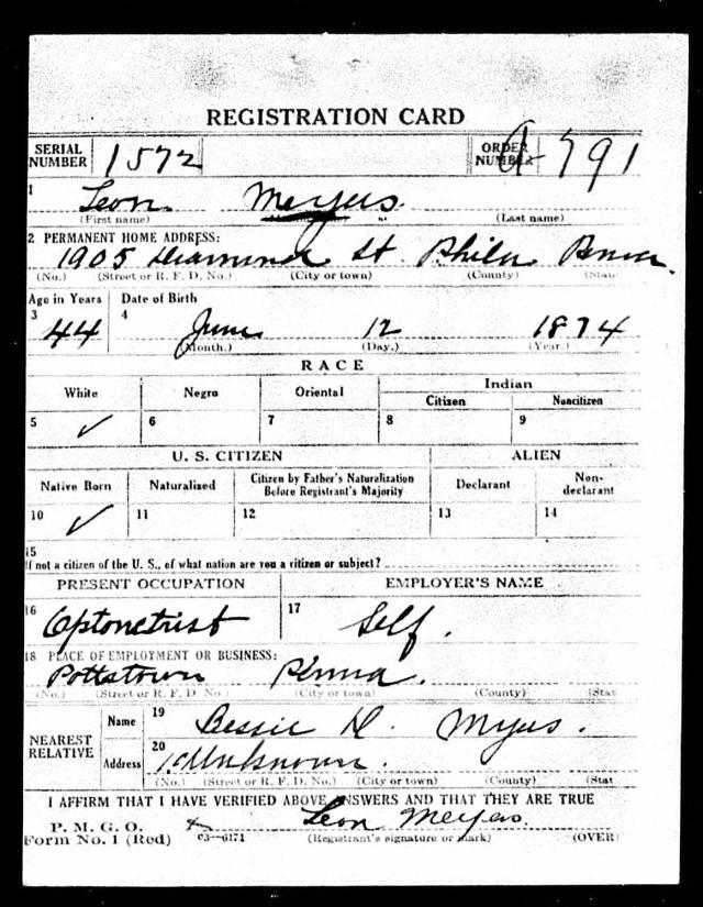 Registration State: Pennsylvania; Registration County: Philadelphia; Roll: 1907649; Draft Board: 29