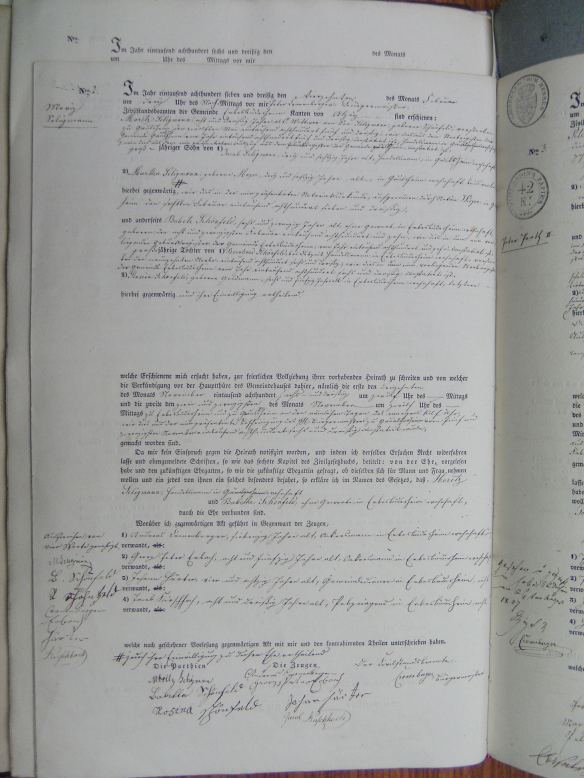 Marriage record of Babete Schoenfeld and Moritz Seligmann 1837