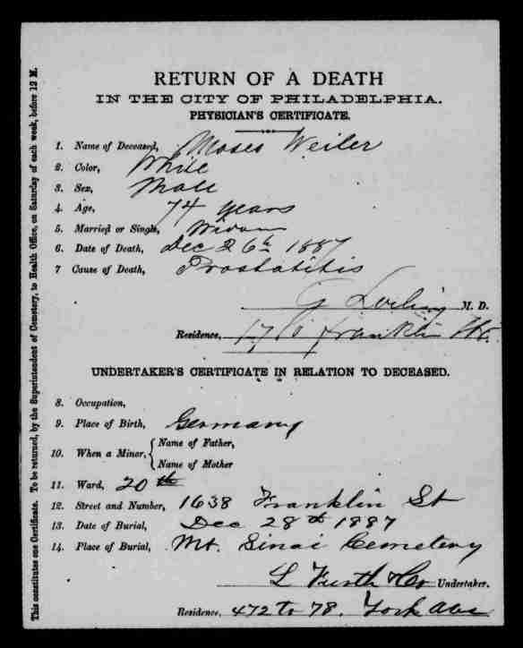 Moses Wiler death certificate