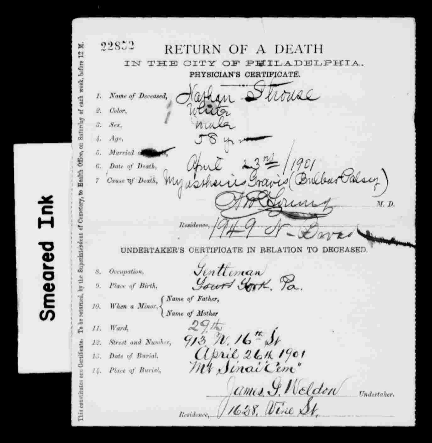 University of pennsylvania brotmanblog a family journey nathan strouse death certificate pennsylvania aiddatafo Images