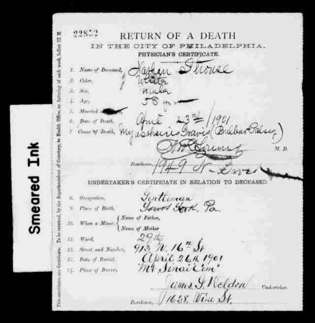 Nathan Strouse death certificate