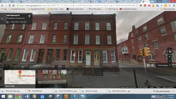 A Google maps street view of 1905 Diamond Street today https://www.google.com/maps/place/1906+Diamond+St,+Philadelphia,+PA+19121/@39.985795,-75.16485,3a,75y,9.88h,102.35t/data=!3m4!1e1!3m2!1sNauOwgjH6G0b9SashPvFxw!2e0!4m2!3m1!1s0x89c6c7e5ea5ac3ad:0x24ce19d41280b52c!6m1!1e1