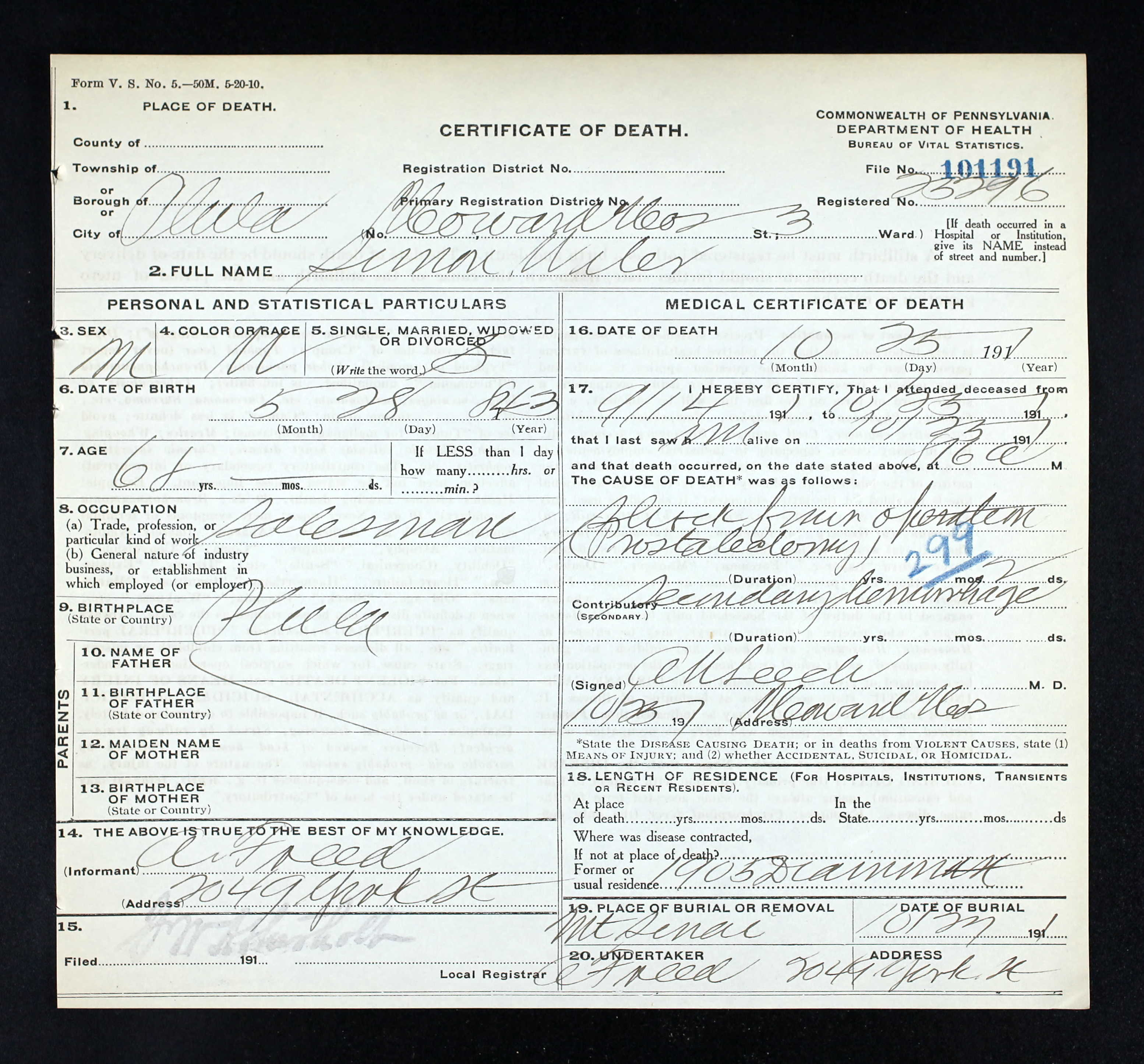 University of pennsylvania brotmanblog a family journey pennsylvania death certificates 1906 1963 database on aiddatafo Images