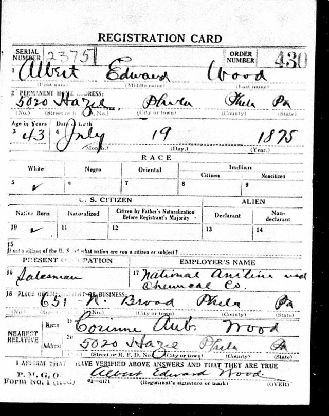 Registration State: Pennsylvania; Registration County: Philadelphia; Roll: 1907958; Draft Board: 49