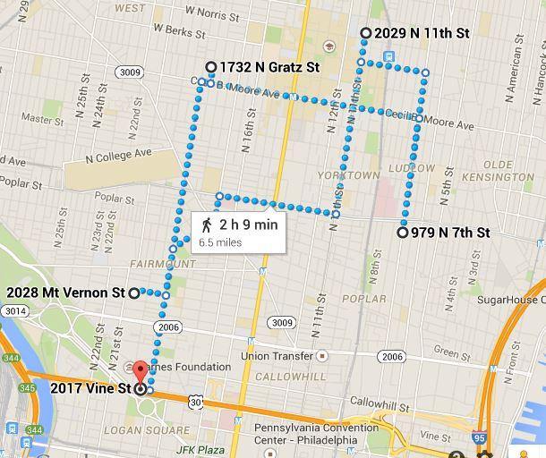 https://www.google.com/maps/dir/2028+Mt+Vernon+St,+Philadelphia,+PA+19130/1732+N+Gratz+St,+Philadelphia,+PA+19121/979+N+7th+St,+Philadelphia,+PA+19123/2029+N+11th+St,+Philadelphia,+PA+19122/2017+Vine+Street,+Philadelphia,+PA/@39.9710497,-75.1774487,14z/data=!3m1!4b1!4m32!4m31!1m5!1m1!1s0x89c6c7cea9564185:0xd48c5dae6e2b3858!2m2!1d-75.171677!2d39.965609!1m5!1m1!1s0x89c6c7e7ea3f320b:0xf045346c6da1f7e6!2m2!1d-75.1650366!2d39.9806825!1m5!1m1!1s0x89c6c870cc343a7d:0xc7d51077f30d9112!2m2!1d-75.1482939!2d39.9696422!1m5!1m1!1s0x89c6c80979028863:0x2f2b78b7568491d8!2m2!1d-75.151494!2d39.9829455!1m5!1m1!1s0x89c6c6335cf4a527:0xc5d44d500b4ff4fd!2m2!1d-75.171157!2d39.9591922!3e2