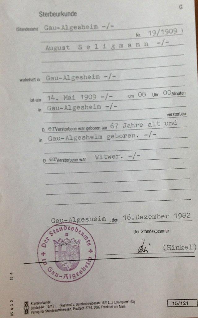 August Seligmann death certificate
