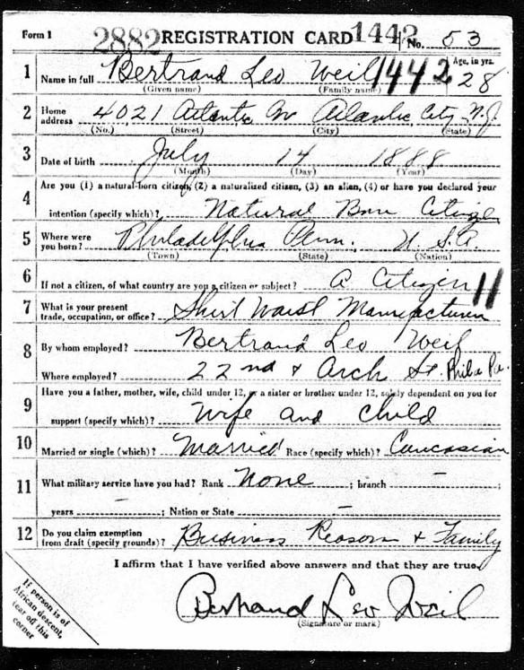 Registration State: New Jersey; Registration County: Atlantic; Roll: 1711902; Draft Board: 2