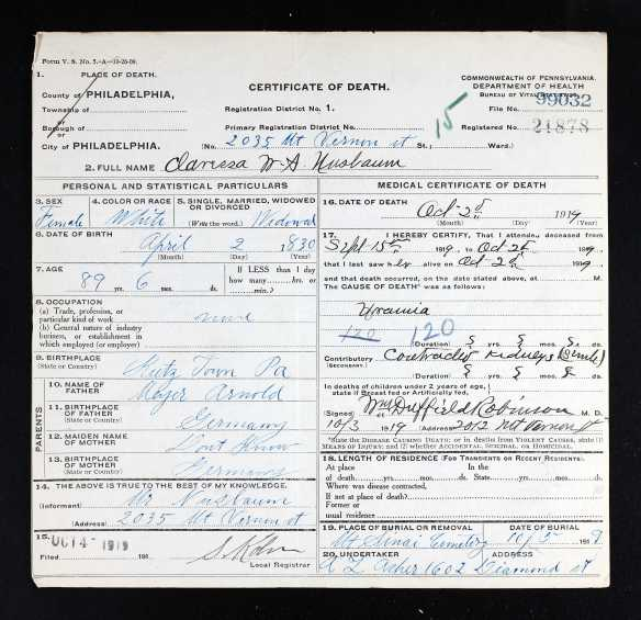 Ancestry.com. Pennsylvania, Death Certificates, 1906-1963 [database on-line]. Provo, UT, USA: Ancestry.com Operations, Inc., 2014. Original data: Pennsylvania (State). Death certificates, 1906–1963. Series 11.90 (1,905 cartons). Records of the Pennsylvania Department of Health, Record Group 11. Pennsylvania Historical and Museum Commission, Harrisburg, Pennsylvania.