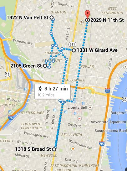 https://www.google.com/maps/dir/1331+W+Girard+Ave,+Philadelphia,+PA+19122/2105+Green+St,+Philadelphia,+PA+19130/1922+N+Van+Pelt+St,+Philadelphia,+PA+19121/1318+S+Broad+St,+Philadelphia,+PA+19146/2029+N+11th+St,+Philadelphia,+PA+19122/@39.958776,-75.1990646,13z/data=!3m1!4b1!4m32!4m31!1m5!1m1!1s0x89c6c7d9093b1455:0xd2e417574e28e6f8!2m2!1d-75.158456!2d39.9713994!1m5!1m1!1s0x89c6c7c957ff38e1:0xf1de557b33a28e8a!2m2!1d-75.172772!2d39.965479!1m5!1m1!1s0x89c6c7e918aa1c93:0x58e373d3daee660f!2m2!1d-75.169517!2d39.983874!1m5!1m1!1s0x89c6c610c3002911:0x44b2fc5106c8982c!2m2!1d-75.168228!2d39.933618!1m5!1m1!1s0x89c6c80979028863:0x2f2b78b7568491d8!2m2!1d-75.151494!2d39.9829455!3e2
