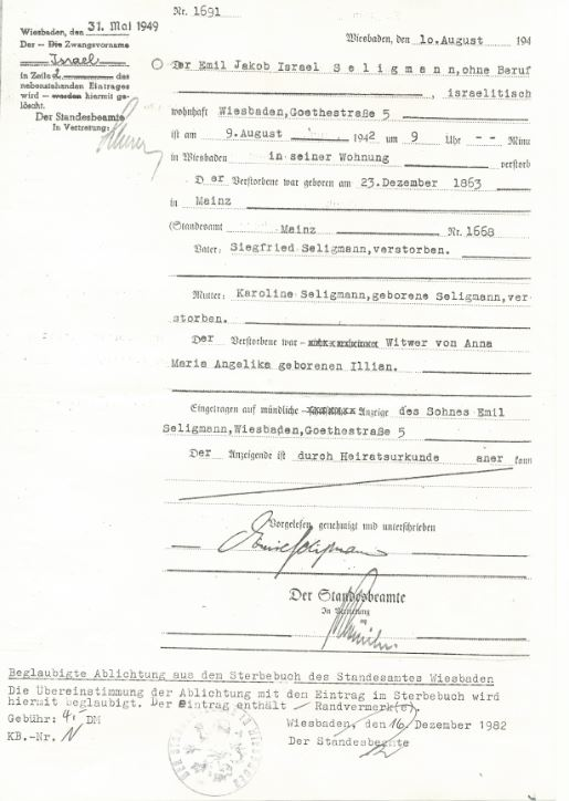 Death record of Emil Seligmann, husband of Carolina Seligmann
