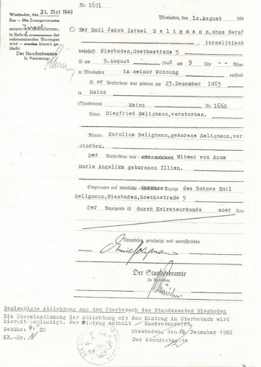 Death record of Emil Seligmann, husband of Carolina Seligmann