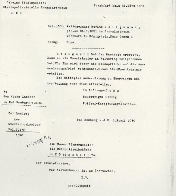 Gestapo letter re Moritz Seligmann