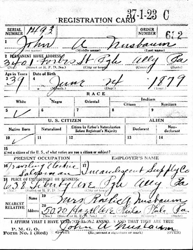 Registration State: Pennsylvania; Registration County: Allegheny; Roll: 1908016; Draft Board: 03