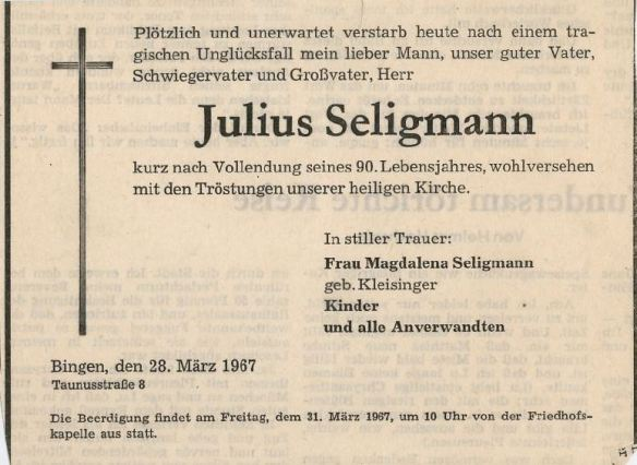 Julius Seligmann death notice
